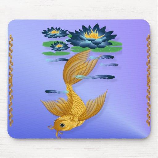 Oro Koi y lirios azules profundos Mousepads Alfombrillas De Ratón