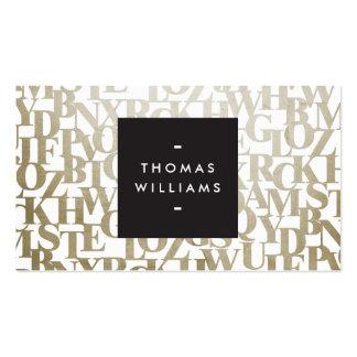 Oro Letterforms abstracto para los autores y los Tarjeta De Visita