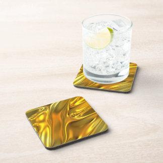 Oro líquido abstracto posavasos de bebida