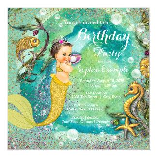 """Oro little mermaid de la aguamarina bajo fiesta de invitación 5.25"""" x 5.25"""""""