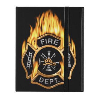Oro llameante de la insignia del bombero