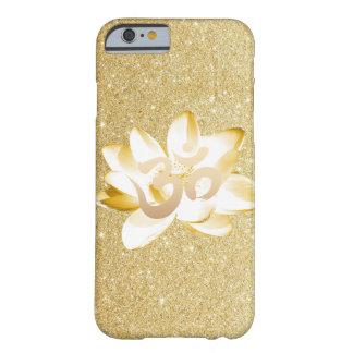 Oro Lotus y brillo del oro del símbolo de OM de la Funda De iPhone 6 Barely There