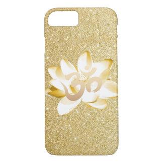 Oro Lotus y brillo del oro del símbolo de OM de la Funda iPhone 7