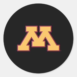 Oro M de Minnesota Etiquetas Redondas