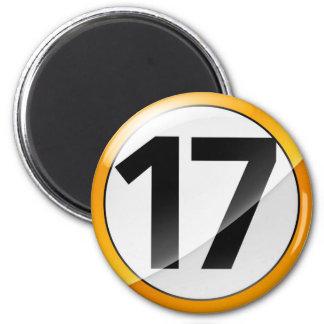 Oro Magent del número 17 Imán Redondo 5 Cm