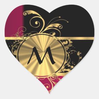 Oro magenta y monograma negro pegatina en forma de corazón