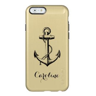 Oro metálico atractivo y monograma negro del ancla funda para iPhone 6 plus incipio feather shine