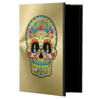 Oro metálico brillante con el cráneo colorido del