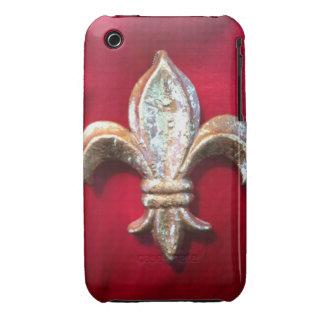 Oro metálico de la flor de lis y caja roja de la i Case-Mate iPhone 3 cárcasas