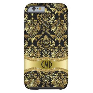 Oro metálico de Monogramed y damascos florales Funda De iPhone 6 Tough