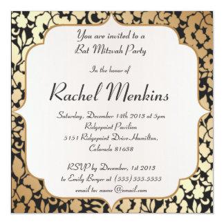 Oro metálico e invitación negra de Mitzvah del Invitación 13,3 Cm X 13,3cm
