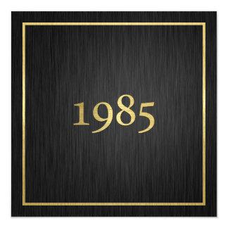 """Oro metálico elegante 1985 invitación 5.25"""" x 5.25"""""""