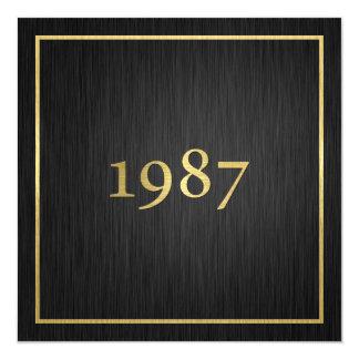 Oro metálico elegante personalizado 1987 invitación 13,3 cm x 13,3cm