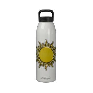 Oro metálico grabado en relieve Sun radiante