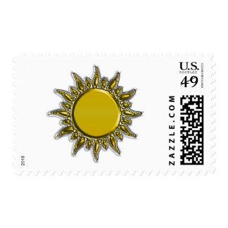 Oro metálico grabado en relieve Sun radiante Franqueo