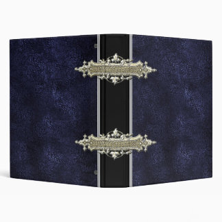 Oro metálico y carpeta de cuero azul