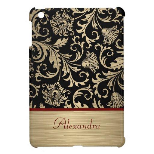 Oro metálico y monograma floral negro de los damas iPad mini protectores
