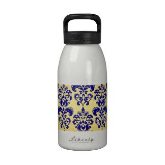 Oro, modelo 2 del damasco de los azules marinos botellas de beber