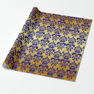 Oro, modelo 2 del damasco de los azules marinos papel de regalo