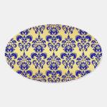 Oro, modelo 2 del damasco de los azules marinos colcomanias de oval personalizadas
