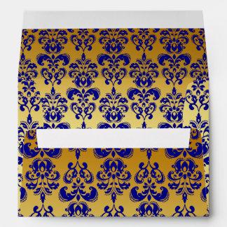 Oro, modelo 2 del damasco de los azules marinos sobres