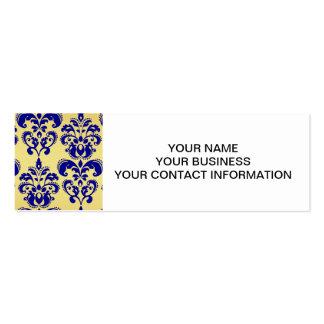 Oro, modelo 2 del damasco de los azules marinos tarjetas de visita mini