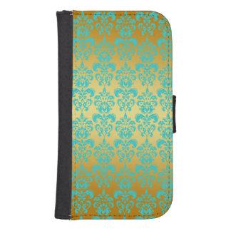 Oro, modelo azul 2 del damasco de la aguamarina carteras para teléfono