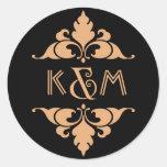 Oro moderno del art déco del vintage y monograma pegatina redonda