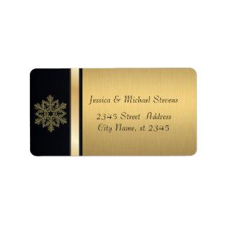 Oro moderno elegante/copo de nieve negro del día etiqueta de dirección