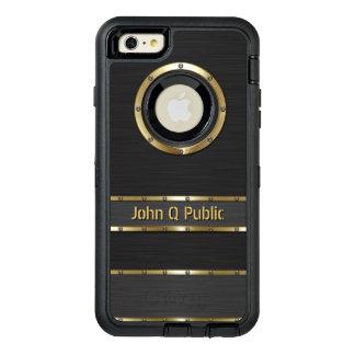Oro moderno personalizado y negro funda OtterBox defender para iPhone 6 plus