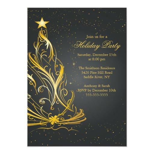 Oro moderno y celebración de días festivos negra invitacion personalizada
