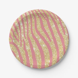 Oro moderno y rayas rosadas de la cebra femeninos plato de papel de 7 pulgadas
