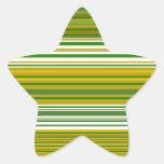 Oro moderno y rayas verdes pegatina en forma de estrella