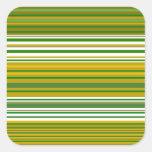 Oro moderno y rayas verdes pegatina cuadrada