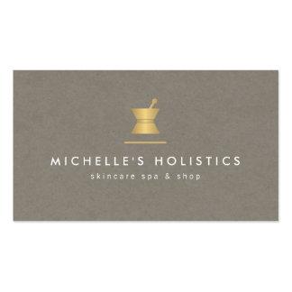 Oro/moreno holísticos de la medicina del boticario tarjetas de visita