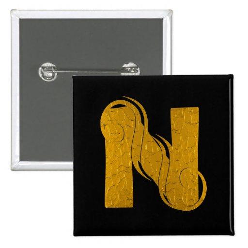 Oro N - botón cuadrado de la letra Pin