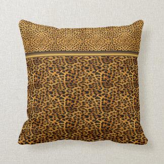Oro negro animal del estampado leopardo cuadrado almohadas