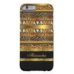 Oro negro animal mezclado salvaje elegante 2 funda de iPhone 6 barely there