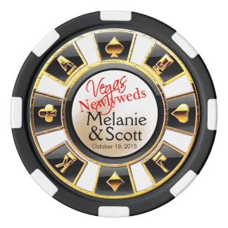 Oro negro blanco del casino de los recienes fichas de póquer
