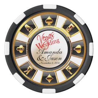 Oro negro blanco del casino del boda de Vegas Fichas De Póquer