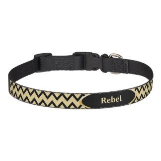 Oro negro Chevron personalizado Collar De Perro
