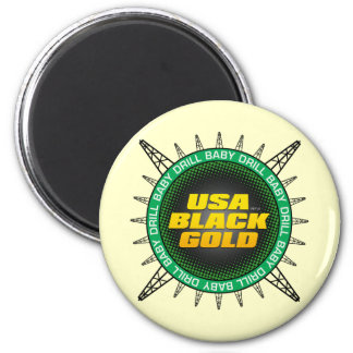 Oro negro de los E.E.U.U. Imán Redondo 5 Cm