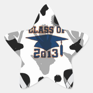 Oro negro del azul del fútbol 2013 pegatina en forma de estrella