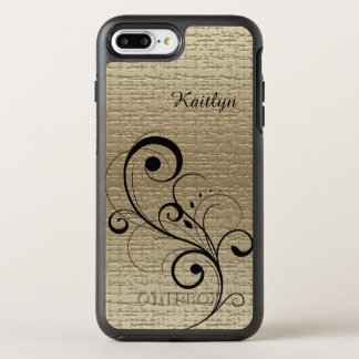 Oro negro del remolino personalizado funda OtterBox symmetry para iPhone 7 plus