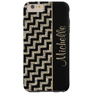 Oro negro diagonal de Chevron personalizado Funda De iPhone 6 Plus Tough