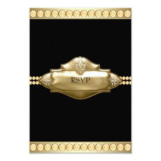 """Oro negro elegante RSVP Invitación 3.5"""" X 5"""""""
