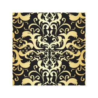 oro negro, falso, vintage, antigüedad, damascos, impresión en lienzo