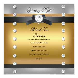 """Oro negro formal de apertura del negocio invitación 5.25"""" x 5.25"""""""