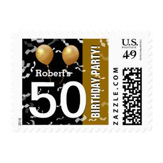 ORO NEGRO K96Z del 50.o cumpleaños del confeti de Estampillas
