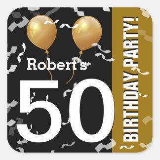 ORO NEGRO K96Z del 50.o cumpleaños del confeti de Pegatina Cuadrada